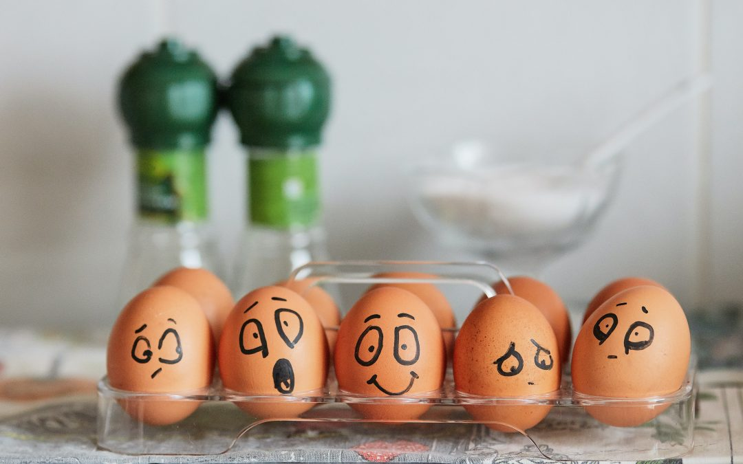 brown eggs with faces